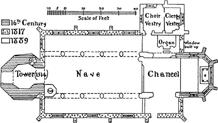 Historic plan of Hornby church